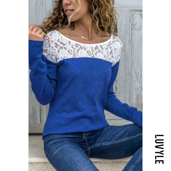 Blue Round Neck Lace Patchwork T-Shirts Blue Round Neck Lace Patchwork T-Shirts