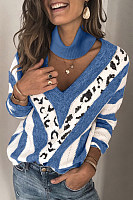 Casual V Neck Printed Color Women's Sweater (Extra Big Sizes)