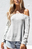 Off Shoulder  Backless Cross Straps  Plain Sweaters