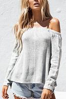 Off Shoulder  Backless Cross Straps  Plain Sweaters