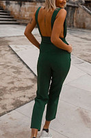 V-Neck Open Back Pocket Fashion New Jumpsuit