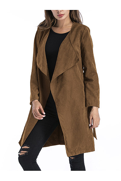 Lapel Belt Plain Pocket Wrap Trench Coat