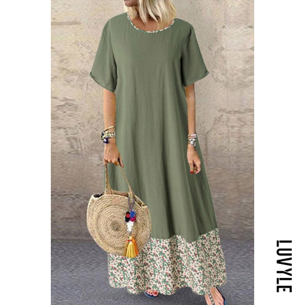 Cotton and linen round neck stitching vintage print dress