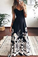Plus Size Print Suspenders Maxi Dress