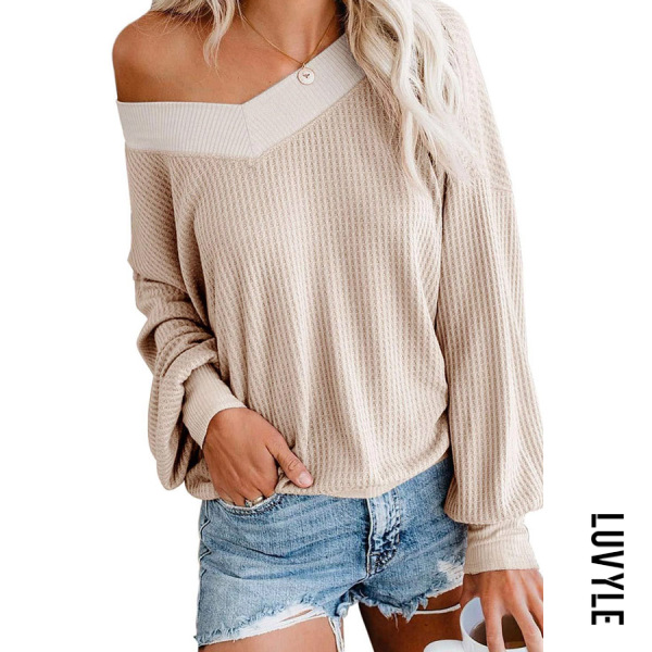 Khaki V Neck Loose Fitting Long Sleeve Knit T-Shirts Khaki V Neck Loose Fitting Long Sleeve Knit T-Shirts