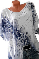 Summer  Cotton  Women  Scoop Neck  Printed  Short Sleeve Short Sleeve T-Shirts
