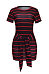 Round Neck  Belt  Striped  Short Sleeve Bodycon Dresses