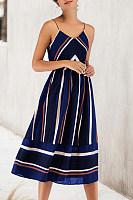 Spaghetti Strap  Elastic Waist  Striped Maxi Dresses