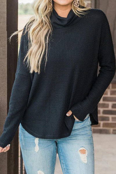 Heap Collar  Plain  Long Sleeve Sweaters