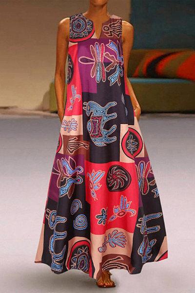 Retro V-neck Sleeveless Print Color Block Dress