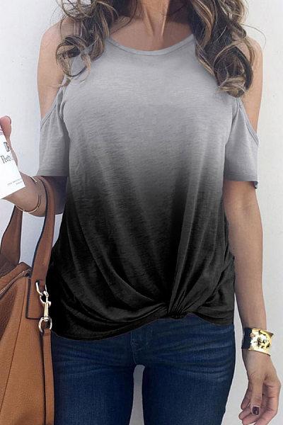Open Shoulder  Gradient T-Shirts