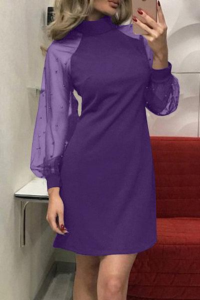 Round Neck Splice Casual Dress