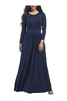 Round Neck Plain Flared Maxi Dress