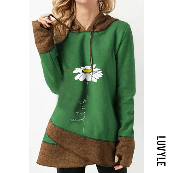 Green Casual Long Sleeve Colouring Printed Hoody Green Casual Long Sleeve Colouring Printed Hoody