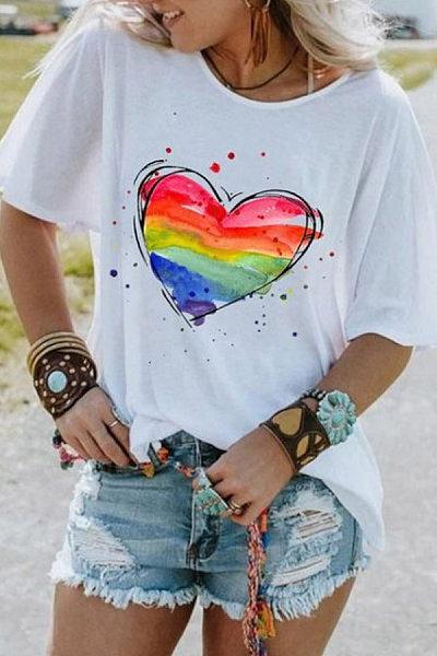 Love Printed Round Neck T-shirt