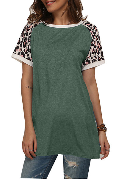 Round Neck Short Sleeve Leopard Colouring T-shirt