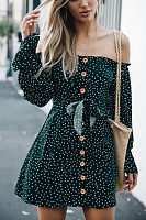 Off Shoulder  Single Breasted  Dot  Long Sleeve Casual Dresses