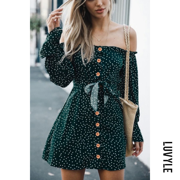 Green Off Shoulder Single Breasted Dot Long Sleeve Casual Dresses Green Off Shoulder Single Breasted Dot Long Sleeve Casual Dresses