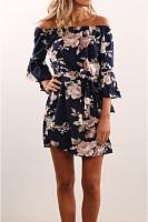 Open Shoulder  Elastic Waist  Floral Printed  Bell Sleeve  Half Sleeve Skater Dresses