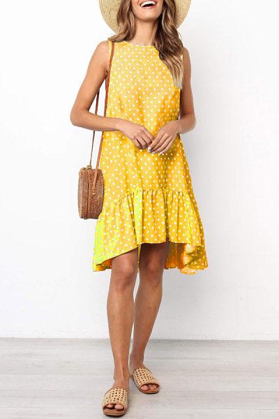 Round Neck  Asymmetric Hem  Dot  Sleeveless Casual Dresses
