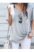 V-Neck Pocket With Irregular Hem Short Sleeve T-Shirt