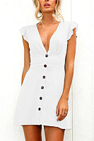 Deep V Neck  Decorative Buttons  Decorative Buttons  Plain Casual Dresses