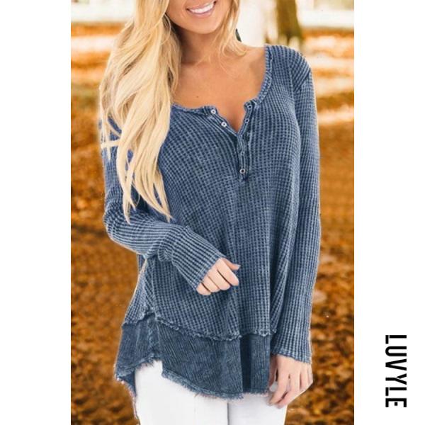 Women's fashion loose long-sleeved stitching T-shirt
