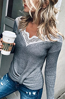 Casual V-neck Stitching Grey T-shirt