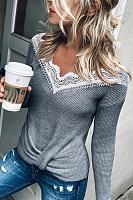 Casual V-neck Stitching Grey T-shirt