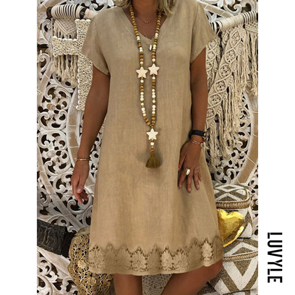 Khaki V Neck Printed Shift Dress Khaki V Neck Printed Shift Dress