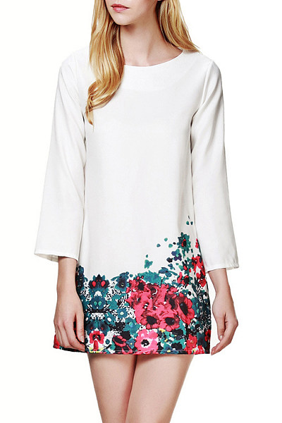 Patchwork Printed Fitted Casual Dress