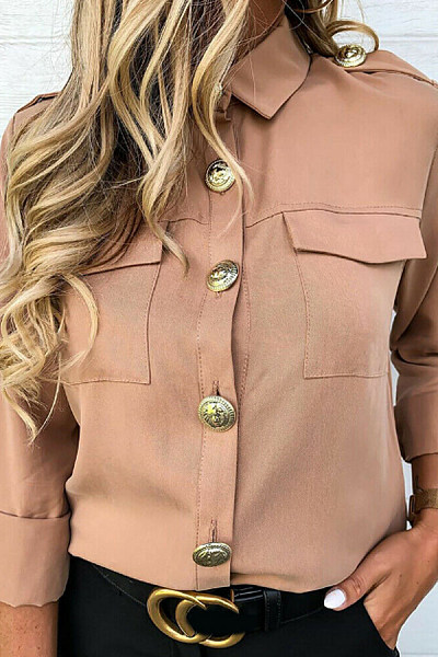 A Lapel Decorative Buttons Long Sleeve Blouse