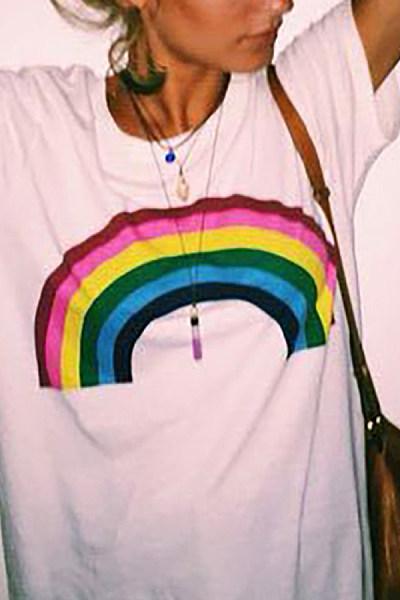 Womens Rainbow Print Short Sleeve T-Shirt