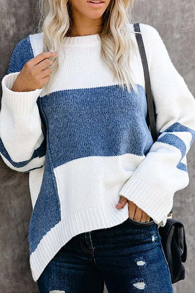 Round Neck Loose-Fitting Colouring Sweater