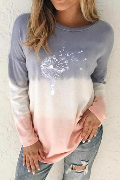 Gradient Printed Long Sleeve T-shirt