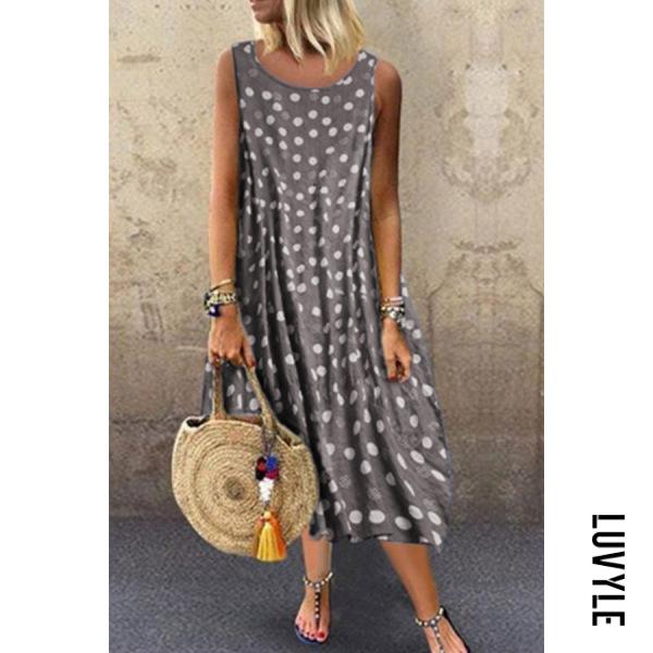 Gray Bohemian Polka Dot Round Neck Sleeveless Dress Gray Bohemian Polka Dot Round Neck Sleeveless Dress