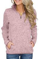 Band Collar Plain Long Sleeve Sweatshirt