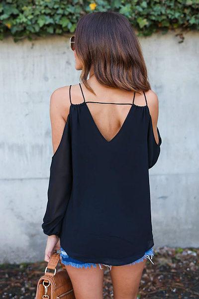 V Neck Backless Long Sleeve Blouses
