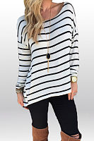 Round Neck  Asymmetric Hem  Striped  Batwing Sleeve T-Shirts