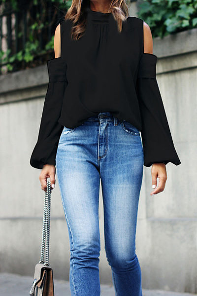 Open Shoulder  Plain  Lantern Sleeve  Blouses