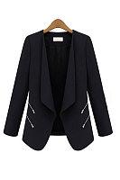 Fold Over Collar  Plain Blazers