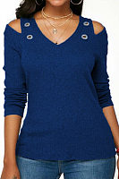V Neck  Metal Eyelet  Plain T-Shirts