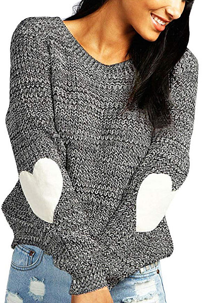 Round Neck Plain Heart Sweater