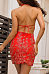 Halter  Backless  Embroidery Bodycon Dresses