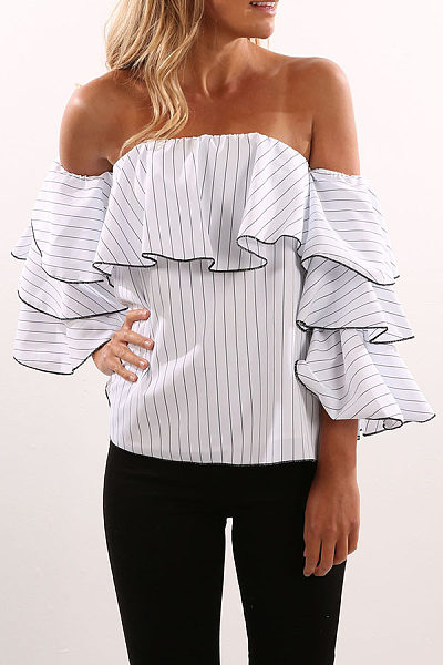 Strapless  Flounce  Smocked Bodice  Vertical Striped Shirts