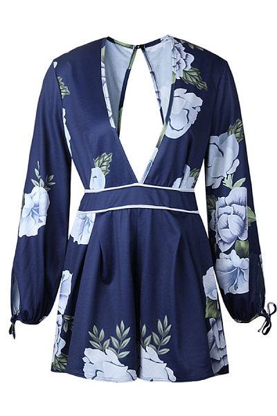 Deep V Neck  Backless  Floral Printed  Long Sleeve  Playsuits