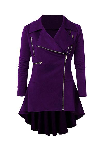 Fold-Over Collar Zips Plain Outerwear