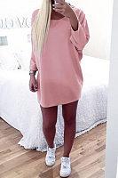 Round Neck  Asymmetric Hem  Plain  Batwing Sleeve  Long Sleeve Casual Dresses