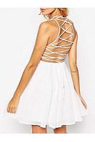 Spaghetti Strap Lace-Up Plain Chiffon Mini Skater Dress