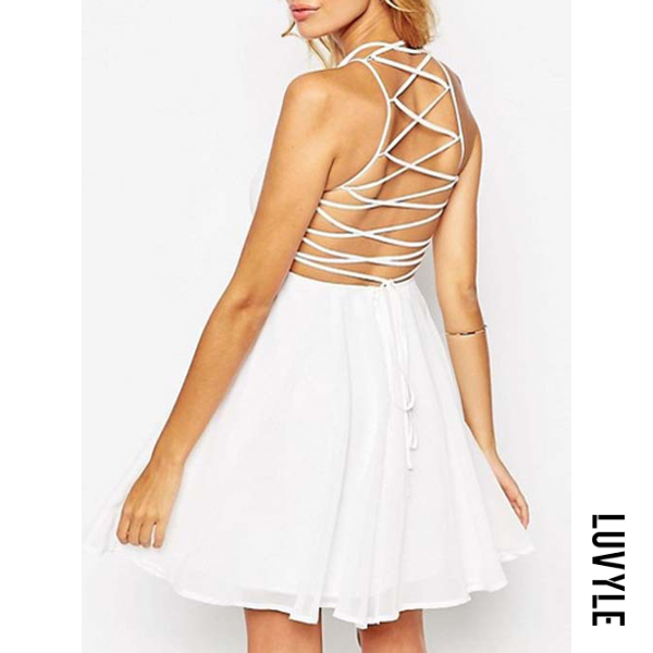 White Spaghetti Strap Lace-Up Plain Chiffon Mini Skater Dress White Spaghetti Strap Lace-Up Plain Chiffon Mini Skater Dress